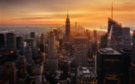 Preview wallpaper New York, evening, sunset, skyscrapers, city, USA