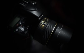 Preview wallpaper Nikon camera, lens, black background