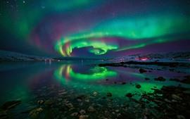 Preview wallpaper Northern lights, Norway, snow, rocks, sea, stars, beautiful night