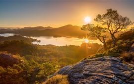 预览壁纸 挪威,霍达兰,树木,山脉,湖泊,日出,黎明