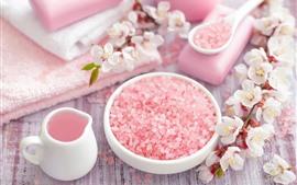 Розовые мыльные гранулы, Цветы, Полотенце, Спа