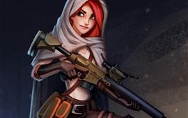 Preview wallpaper Red hair girl, green eyes, weapon, gun, art picture