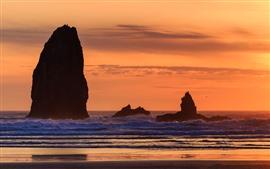 Aperçu fond d'écran Rochers, mer, coucher de soleil, côte, silhouette