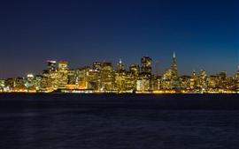 Vorschau des Hintergrundbilder San Francisco, Stadt, Wolkenkratzer, Stadt, Lichter, Nacht, Meer