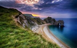 Море, пляж, арка, трава, облака, сумерки