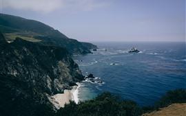 Mar, costa, montanhas, penhasco, natureza cenário