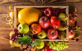 Algumas frutas, maçã, peras, uvas, melão