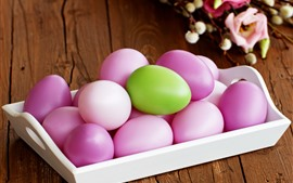 Preview wallpaper Some pink Easter eggs, one green