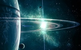 Preview wallpaper Space, planet, satellite, ring, stars, shine