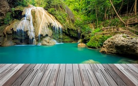 Preview wallpaper Thailand, ladder, waterfall, trees, bridges, pond