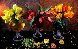 미리보기 배경 화면 3 색 튤립, 노란색, 빨간색, 오렌지