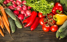Preview wallpaper Tomato, cucumber, carrot, chili, lettuce, vegetables