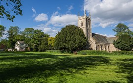 Preview wallpaper UK, church, grass, meadow, trees, summer