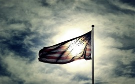 Preview wallpaper USA flag, sunshine, sky, clouds