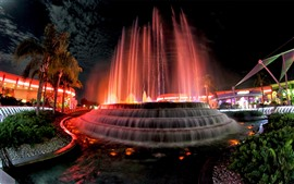 Preview wallpaper USA, fountain, water, night, city