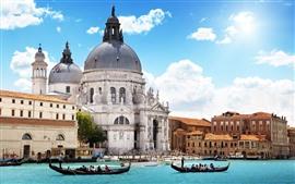 Veneza, Edifícios, Rio, Sol, Céu azul, Nuvens, Barcos