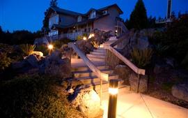 Preview wallpaper Villa, house, ladder, lights, steps, night