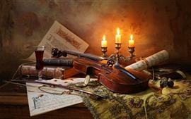 壁紙のプレビュー バイオリン、キャンドル、炎、ワイン