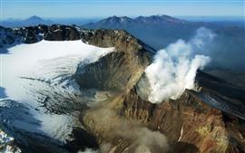 화산 Kamchatka, 러시아, 눈, 연기가 자욱한, 산