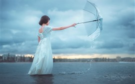 Preview wallpaper White skirt girl, river, umbrella