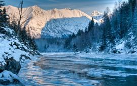 Alaska, winter, mountains, river, forest, snow