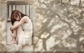 Preview wallpaper Asian girl, sadness, window, wall