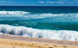 Preview wallpaper Beautiful sea, beach, coast, water, foam