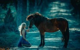 Aperçu fond d'écran Fille blonde et cheval brun, route