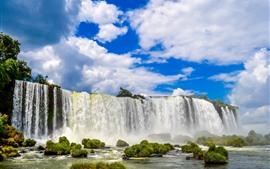 Preview wallpaper Brazil, Iguazu Falls, waterfalls, stream, grass, sky, clouds