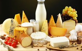 Preview wallpaper Bread, cheese, milk, tomatoes, grapes, food