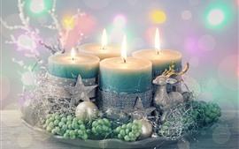 Bougies, flamme, étoiles, cerfs, décoration, Noël