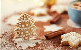 Рождество, пряники, печенье, дерево, порошок