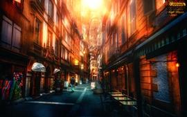 Cidade, rua, edifícios, brilho, estilo hdr