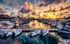 壁紙のプレビュー ドック、ボート、海、雲、夕日