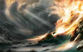 Dragão, Chama, Rochas, Imagem de Arte