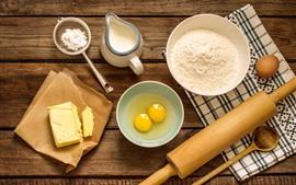 Preview wallpaper Eggs, flour, milk, oil, rolling pin, food