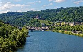 Aperçu fond d'écran Allemagne, Cochem, rivière, ville, pont, château, arbres