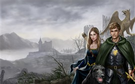 Preview wallpaper Girl and boy, dog, dragon, castle, art picture