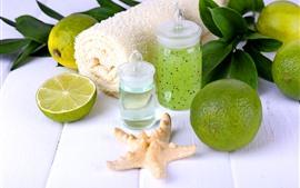 Aperçu fond d'écran Citron vert, citron vert, tour, étoile de mer, spa