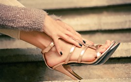 Hands, legs, heels, stairs