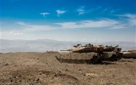 Israel, combate, tanque, céu azul