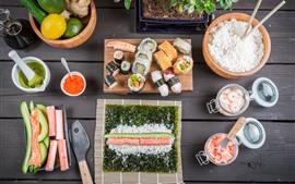 Preview wallpaper Japanese cuisine, food, rice rolls, sushi, lemon