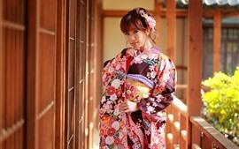 预览壁纸 日本女孩,看,和服,姿势