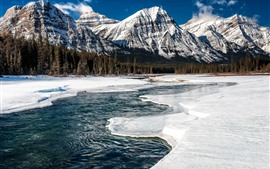 Preview wallpaper Jasper National Park, Canada, mountains, snow, river, forest, winter