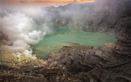 Озеро, скалы, дым, туман, сумерки
