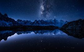 Озеро, Отражение воды, Горы, Звезды, Звезды, Ночь