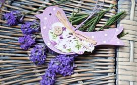 Лаванда, фиолетовые цветы, оформление птиц