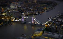 Londres, pont, rivière, nuit, lumières, Angleterre