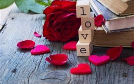 Amor corações, cubos, rosa vermelha, pétalas, livro, romântico