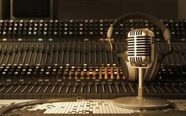 Microphone, retro, audio, mixer